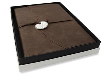 Picture of Capri Handmade Italian Leather Wrap A4 Refillable Journal Chocolate Plain
