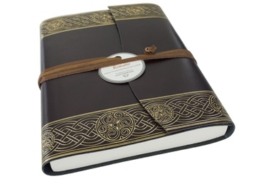 Picture of Olympia Handmade Recycled Leather Wrap A5 Journal Rustic Gold Plain