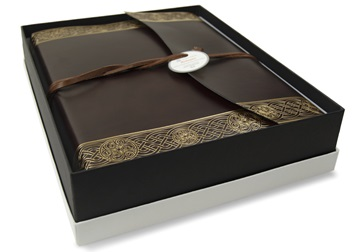 Picture of Olympia Handmade Recycled Leather Wrap Large Photo Album Rustic Gold