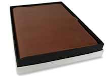 Picture of Rustico Handmade Leather Bound A4 Refillable Journal Saddle Brown Plain
