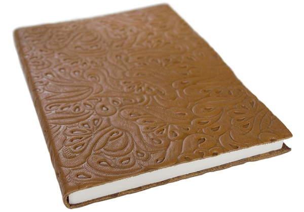 Picture of Italiano Handmade 100 % Italian Genuine Calf Leather A5 Journal Floral Tan Plain