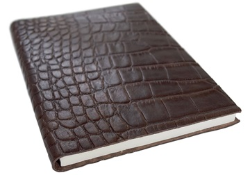 Picture of Italiano Handmade 100 % Italian Genuine Calf Leather A5 Journal Crocodile Brown Plain
