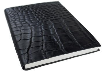 Picture of Italiano Handmade 100 % Italian Genuine Calf Leather A5 Journal Crocodile Black Plain