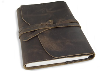 Picture of Author Handmade Leather A5 Refillable Journal Rustic Tan Plain