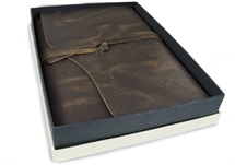 Picture of Author Handmade Leather A4 Refillable Journal Rustic Tan Plain