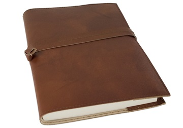 Picture of Nabucco Handmade Leather Bound A5 Refillable Journal Chocolate Plain