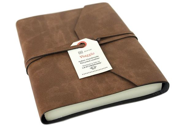 Picture of Viaggio Handmade Recycled Leather Wrap A6 Journal