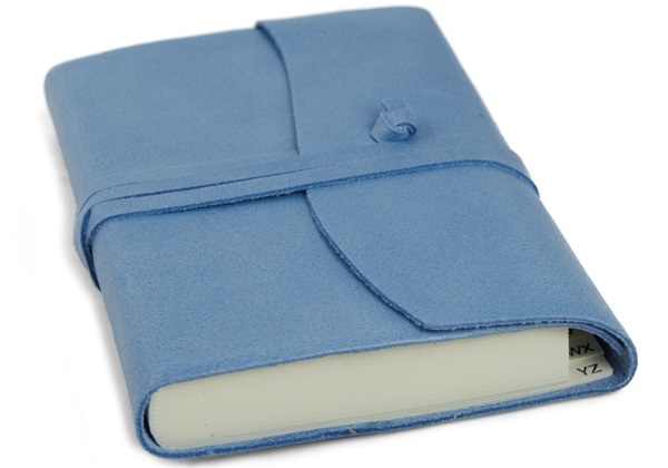 Picture of Capri Handmade Italian Leather Wrap Small Address Book Aeroblue