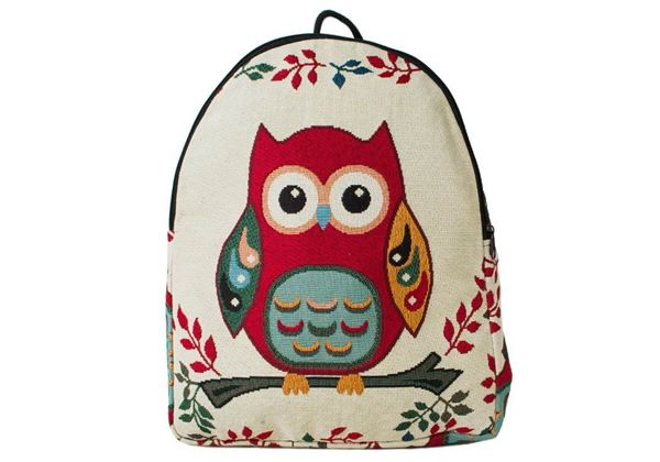 Picture of Owl Print on Canvas Medium Backpack