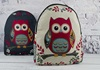 Picture of Owl Print on Canvas Medium Backpack White and Red