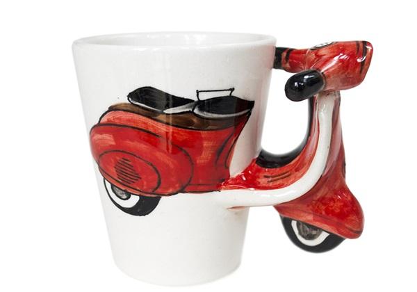 Picture of Vespa Handmade Ceramic 8oz Coffee Mug Red