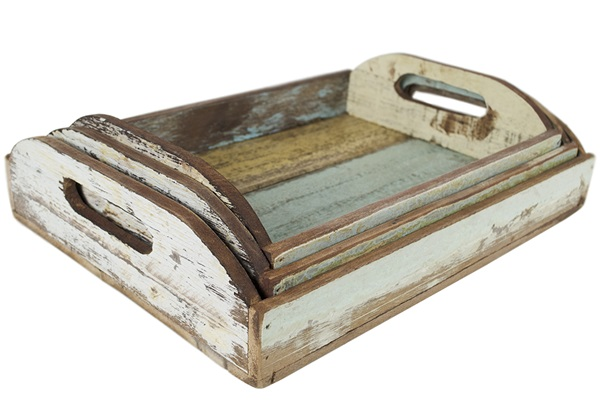 Picture of Rustic Beach Handmade Reclaimed Set of 3 Tray Antique Pastel