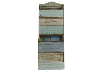 Picture of Rustic Beach Handmade Reclaimed Wall Mounted Magazine Rack Antique Pastel