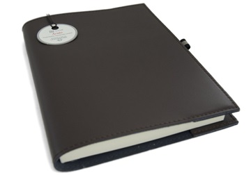 Picture of Acuto Handmade Italian Leather Bound A5 Refillable Journal Chocolate Plain
