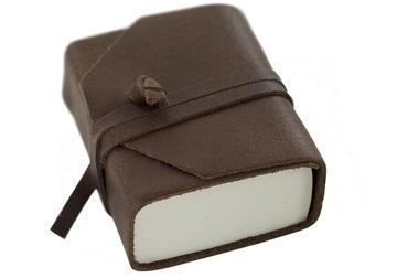 Picture of Capri Handmade Italian Leather Wrap Tiny Journal Chocolate Plain