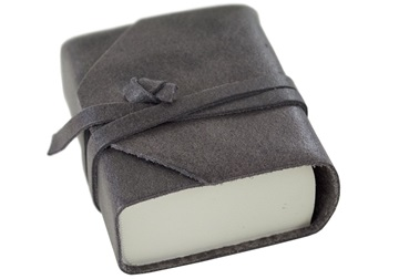 Picture of Capri Handmade Italian Leather Wrap Tiny Journal Charcoal Plain