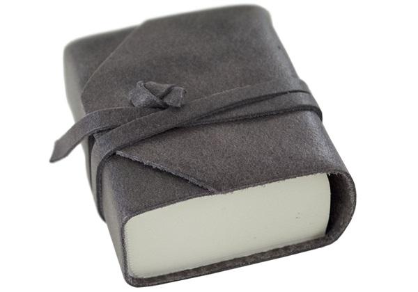 Picture of Capri Handmade Italian Leather Wrap Tiny Journal Charcoal Plain