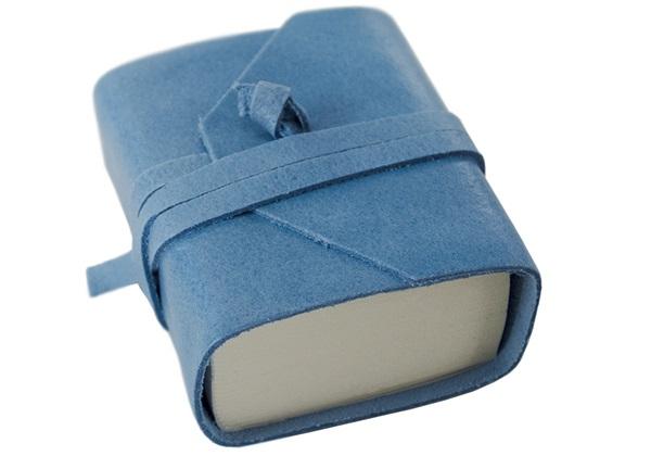 Picture of Capri Handmade Italian Leather Wrap Tiny Journal Aeroblue Plain