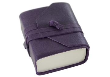 Picture of Capri Handmade Italian Leather Wrap Tiny Journal Aubergine Plain