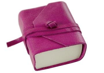 Picture of Capri Handmade Italian Leather Wrap Tiny Journal Fuchsia Plain