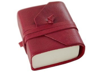 Picture of Capri Handmade Italian Leather Wrap Tiny Journal Firebrick Plain