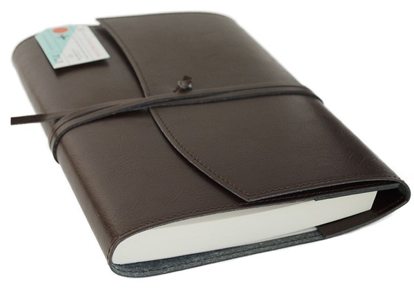 Picture of Journalista Handmade Recycled Leather A5 Refillable Journal Chocolate Plain