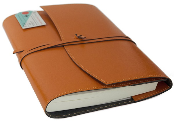 Picture of Journalista Handmade Recycled Leather A5 Refillable Journal Orange Plain