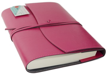 Picture of Journalista Handmade Recycled Leather A5 Refillable Journal Pink Plain