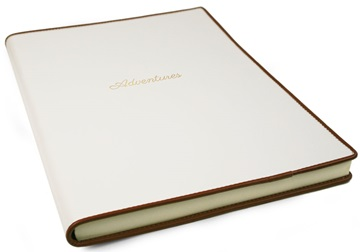 Picture of Cortona Handmade Italian Leather Bound A4 Journal White Plain