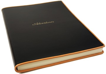 Picture of Cortona Handmade Italian Leather Bound A4 Journal Black Plain