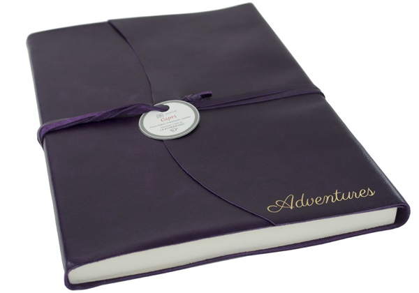 Picture of Capri Handmade Italian Leather Wrap A4 Journal Aubergine Plain