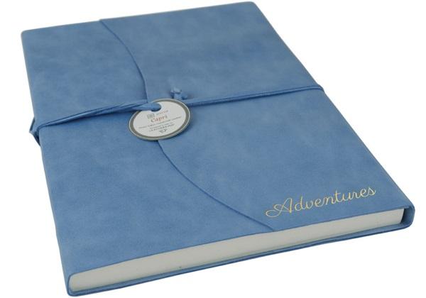 Picture of Capri Handmade Italian Leather Wrap A4 Journal Aeroblue Plain