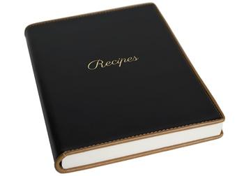 Picture of Cortona Mum's Recipes Italian Leather A5 Journal Black Plain