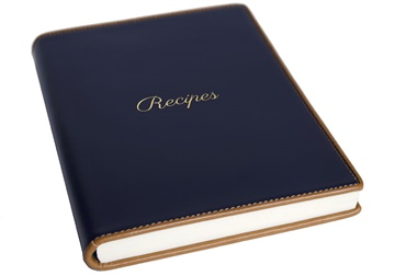 Picture of Cortona Mum's Recipes Italian Leather A5 Journal Navy Plain