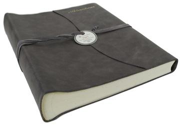 Picture of Capri Mum's Adventures Italian Leather Wrap Large Photo Album Charcoal
