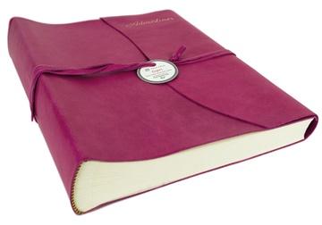Picture of Capri Mum's Adventures Italian Leather Wrap Large Photo Album Fuchsia