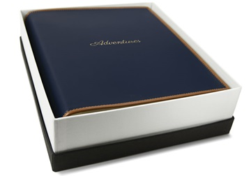 Picture of Cortona Handmade Italian Leather Bound Medium Photo Album Navy