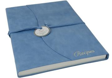 Picture of Capri Mum's Recipes Italian Leather Wrap A4 Journal Aeroblue Plain