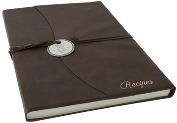 Picture of Capri Mum's Recipes Italian Leather Wrap A4 Journal Chocolate Plain