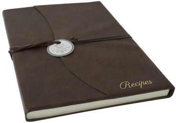Picture of Capri Mum's Recipes Italian Leather Wrap A4 Journal Chocolate Plain