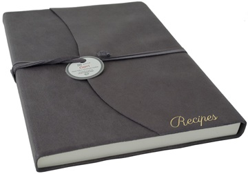 Picture of Capri Mum's Recipes Italian Leather Wrap A4 Journal Charcoal Plain