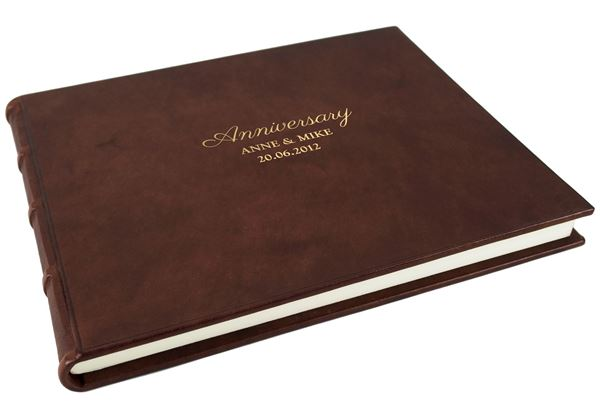 Picture of Chianti Anniversary Italian Leather Bound Extra Large Guest Book