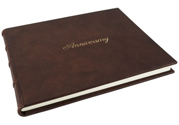 Picture of Chianti Anniversary Italian Leather Bound Extra Large Guest Book Chocolate