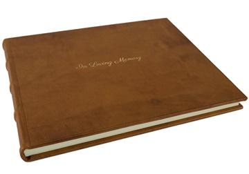 Picture of Chianti In Loving Memory Italian Leather Bound Extra Large Guest Book Saddle Brown