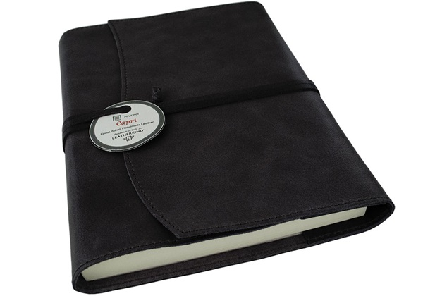 Picture of Capri Handmade Italian Leather Wrap A5 Refillable Journal Obsidian Plain