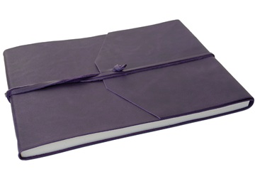 Picture of Capri Handmade Italian Leather Wrap Extra Large Guest Book Aubergine