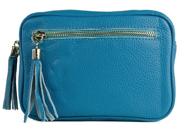 Picture of Nina Handcrafted Leather in Italy Large Cosmetic Bag Turquoise
