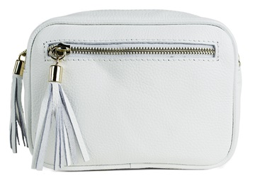Picture of Nina Handcrafted Leather in Italy Large Cosmetic Bag White