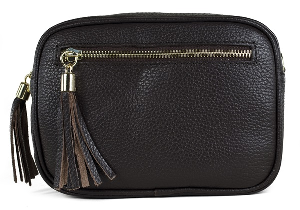 Picture of Nina Handcrafted Leather Large Cosmetic Bag Chocolate