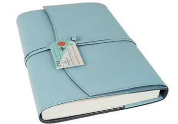 Picture of Journalista Handmade Recycled Leather A5 Refillable Journal Baby Blue Plain
